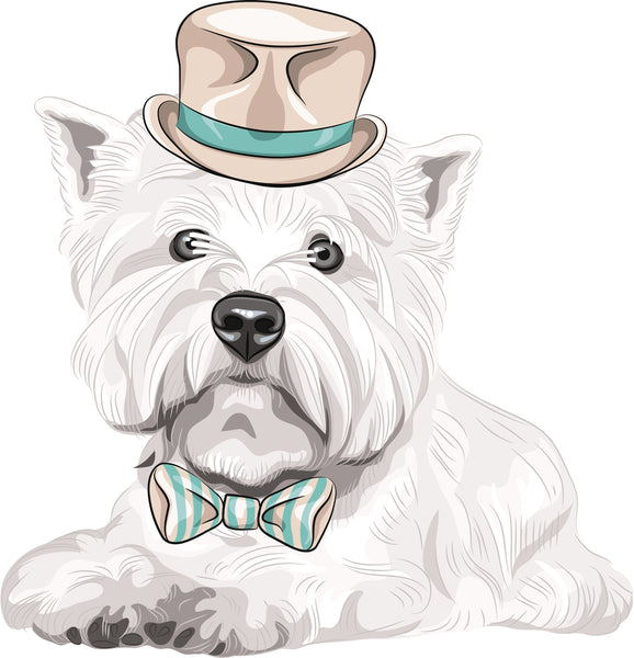 Adorable Fancy West Highland White Terrier Puppy Dog with Hat and Bowtie Vinyl Decal Sticker