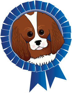 Adorable First Prize Blue Ribbon Puppy Dog Vinyl Decal Sticker