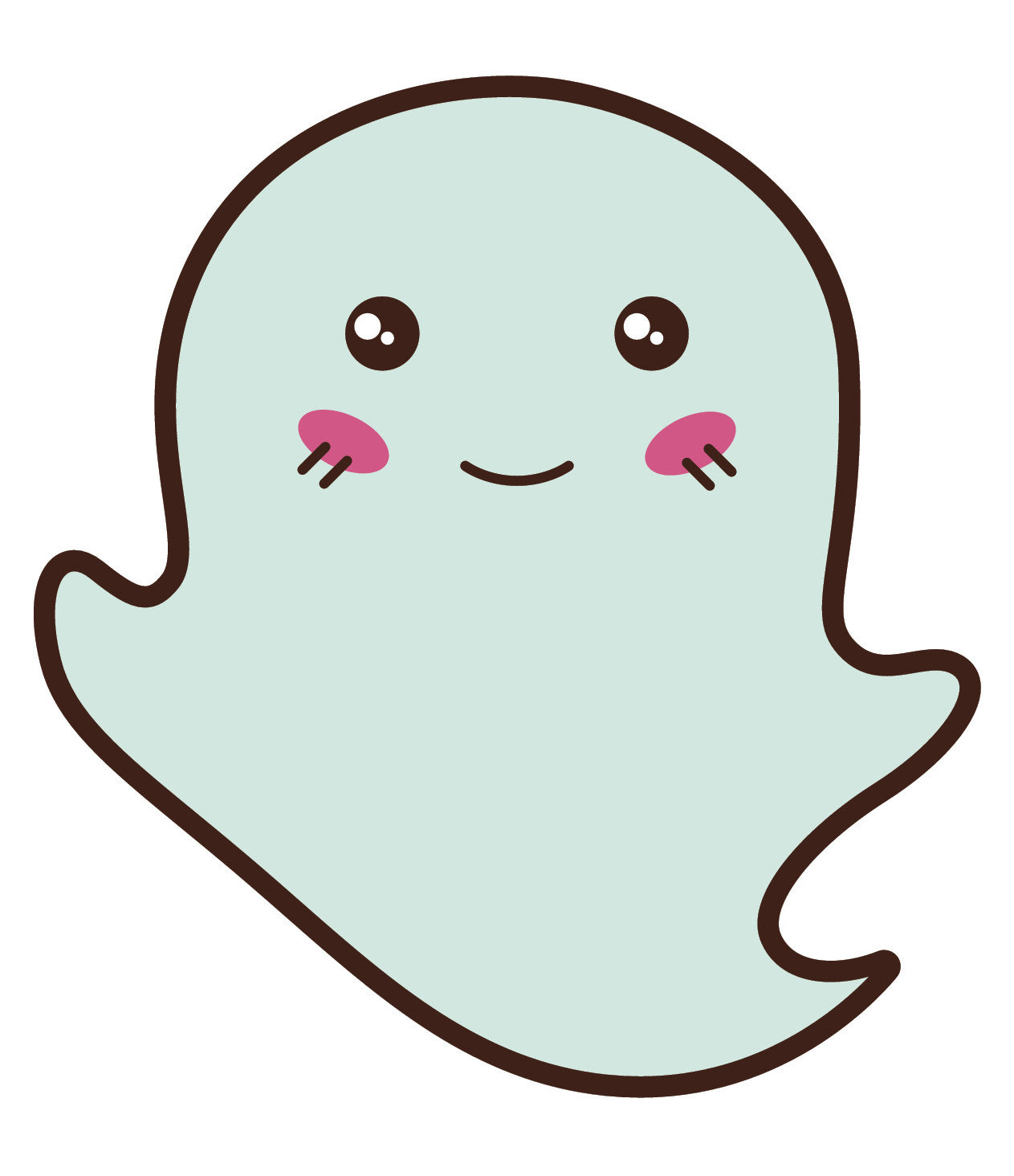 Adorable Floating Mischevious Ghost  (6) Vinyl Decal Sticker