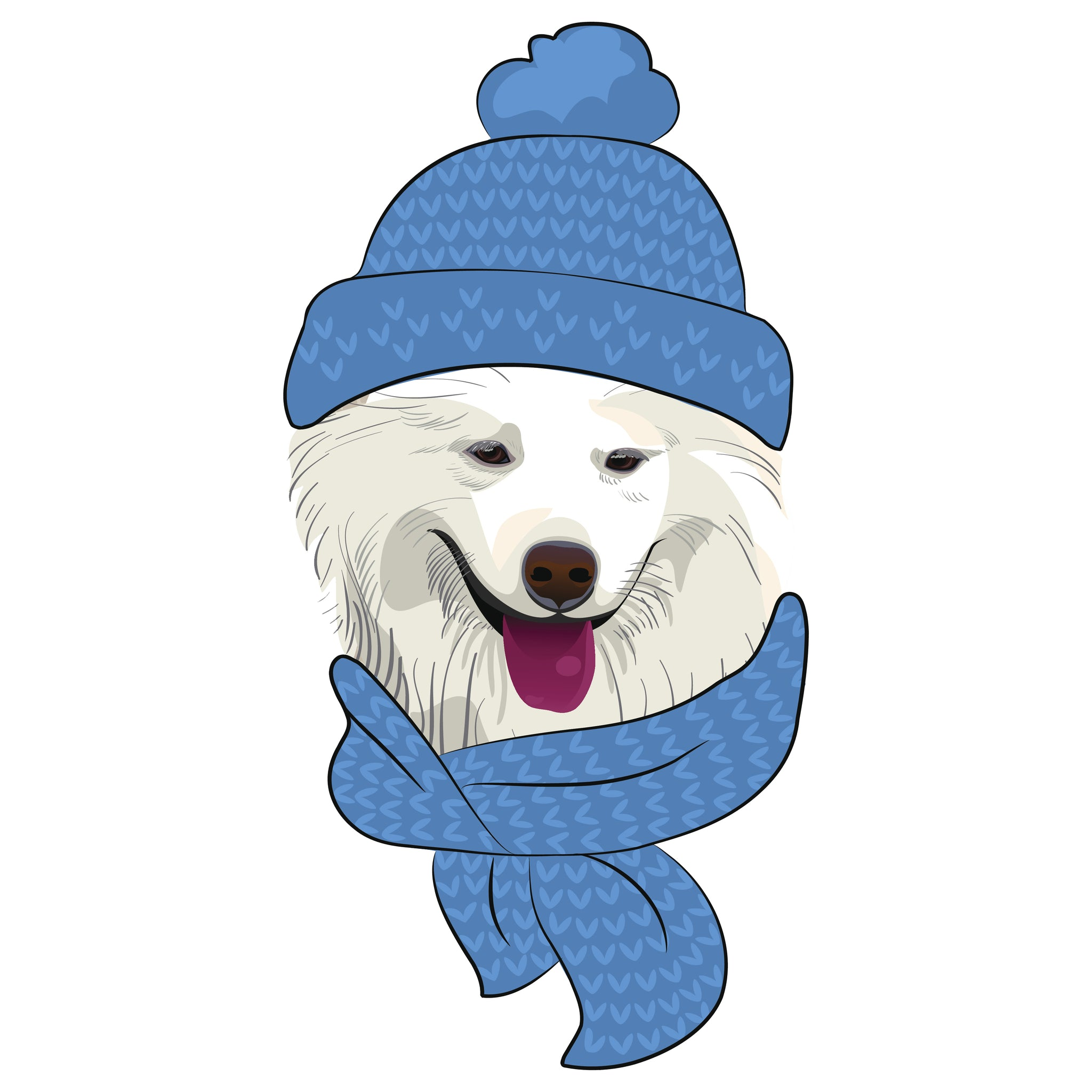 Adorable Fluffy White Snow Dog in Beanie and Scarf Vinyl Decal Sticker