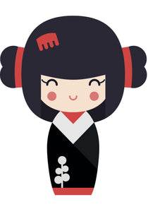 Adorable Geisha Girl in Kimono #1 Vinyl Decal Sticker