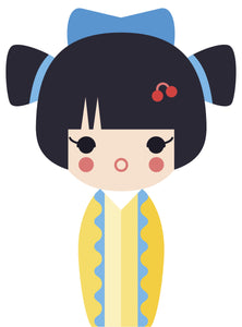 Adorable Geisha Girl in Kimono #4 Vinyl Decal Sticker