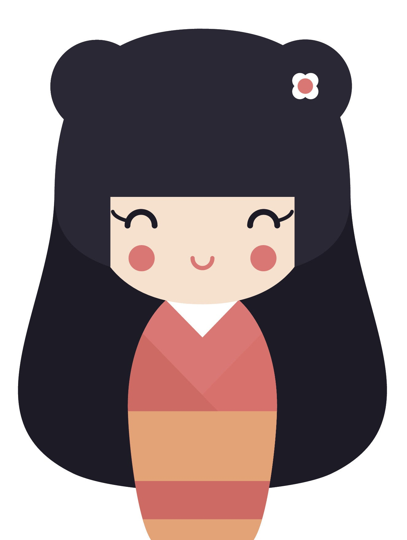 Adorable Geisha Girl in Kimono #5 Vinyl Decal Sticker