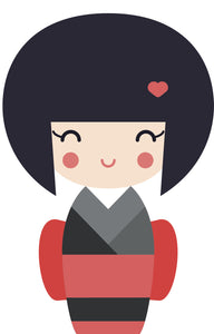 Adorable Geisha Girl in Kimono #6 Vinyl Decal Sticker