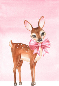 Adorable Happy Watercolor Art Baby Pink Girl Deer Fawn Vinyl Decal Sticker