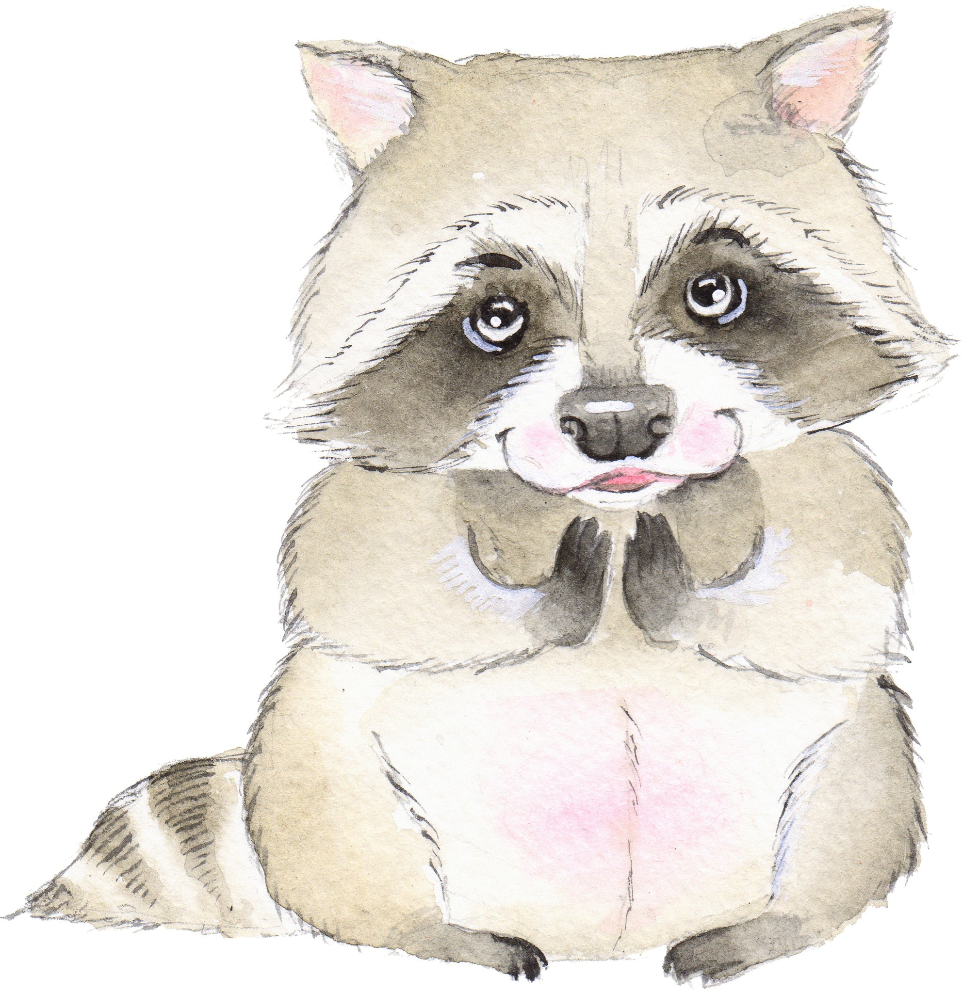 Adorable Happy Watercolor Art Baby Raccoon Vinyl Decal Sticker