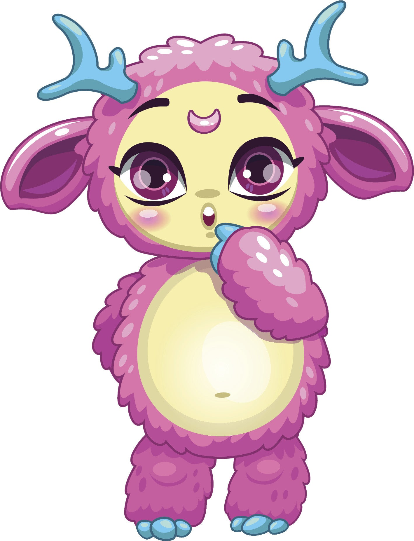 Adorable Kawaii Alien Lamb Sheep Cartoon - Purple Vinyl Decal Sticker