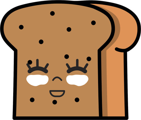 Adorable Kawaii Food Cartoon Emoji - Bread #2 Vinyl Decal Sticker