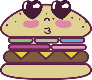 Adorable Kawaii Food Cartoon Emoji - Hamburger #2 Vinyl Decal Sticker