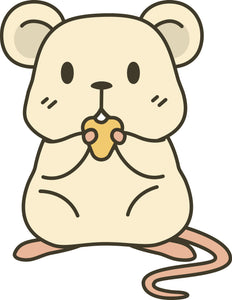 Adorable Kawaii Mouse Rat with Cheese Cartoon Emoji Vinyl Decal Sticker