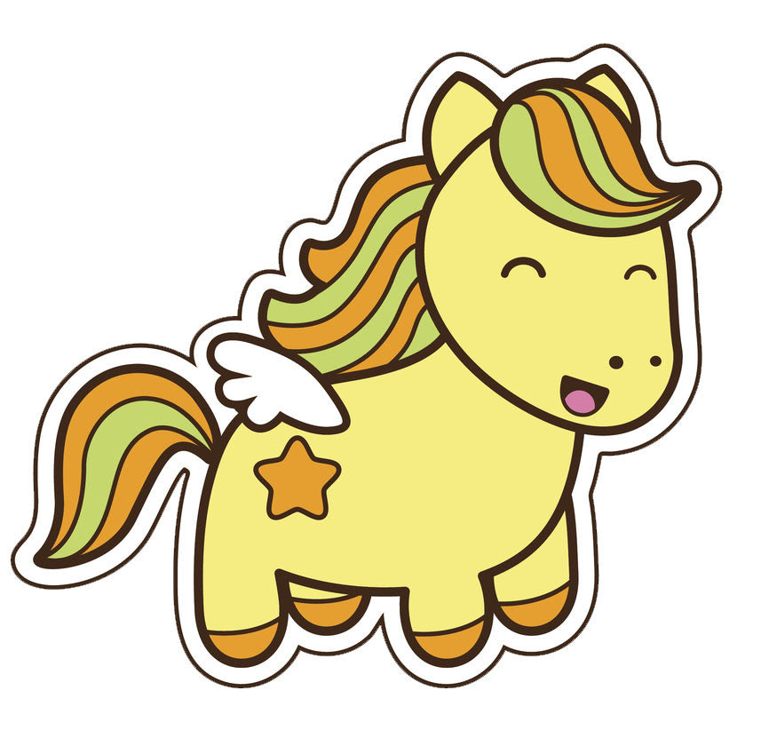 Adorable  Little Rainbow Pony - Yellow Orange Vinyl Decal Sticker