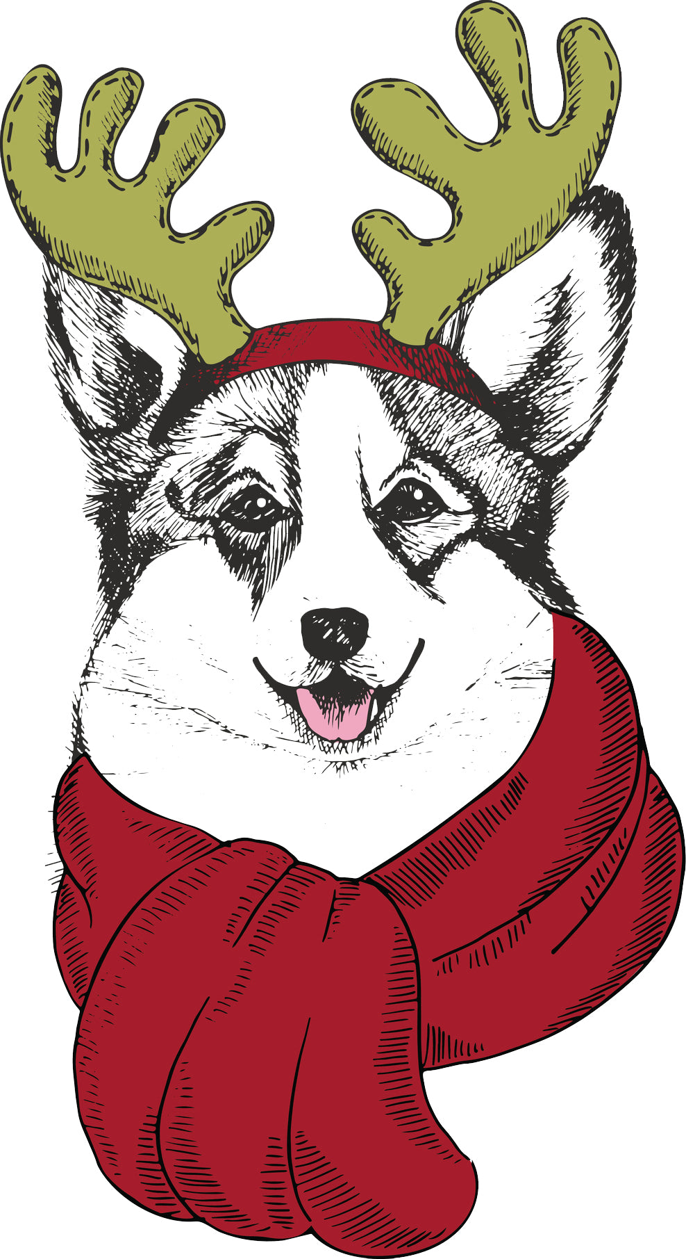 Adorable Merry Christmas Holiday Puppy Dog in Reindeer Costume - Corgi Vinyl Decal Sticker