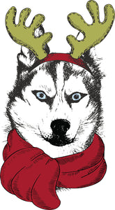 Adorable Merry Christmas Holiday Puppy Dog in Reindeer Costume - Husky Vinyl Decal Sticker