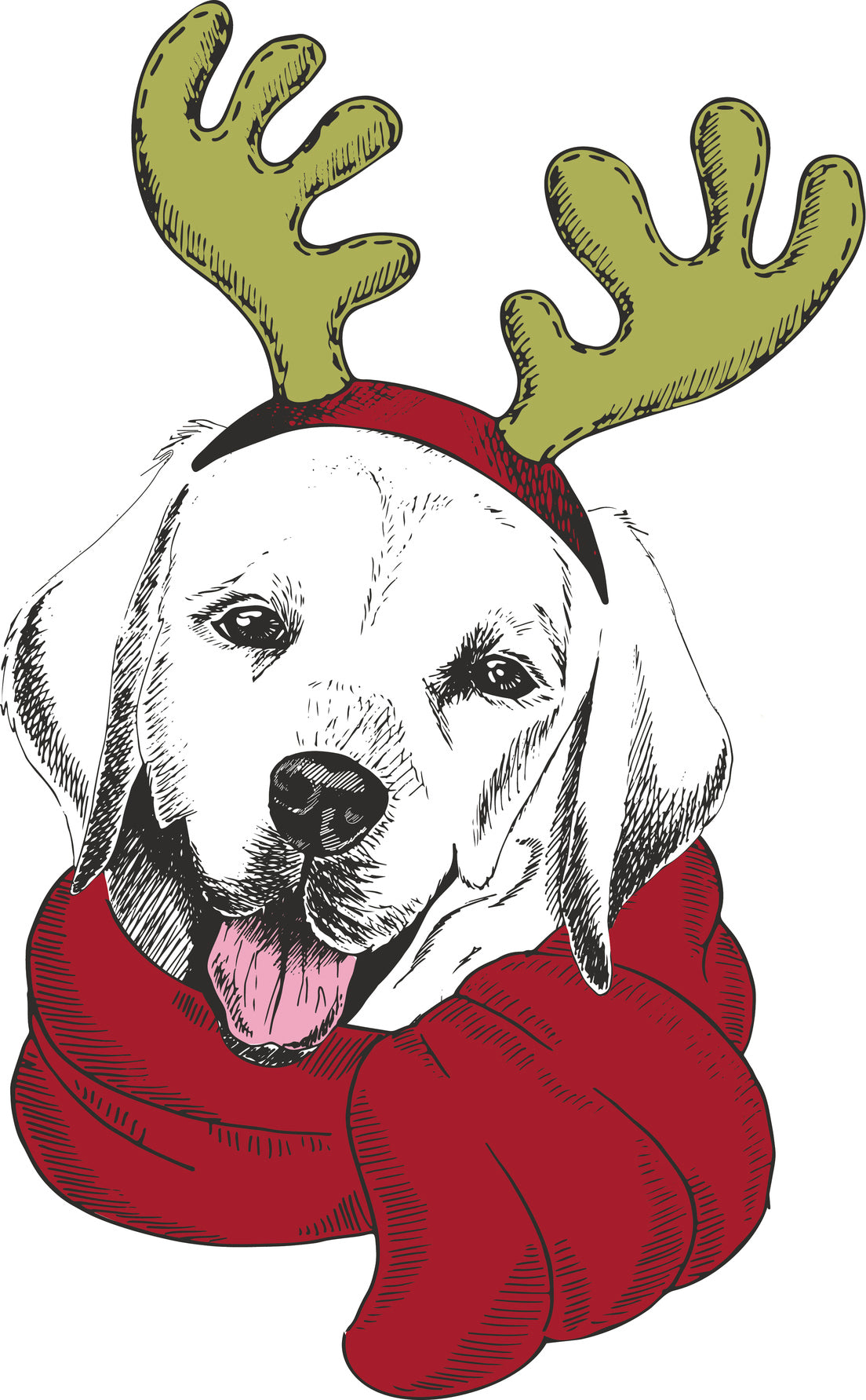 Adorable Merry Christmas Holiday Puppy Dog in Reindeer Costume - Labrador Retriever Vinyl Decal Sticker