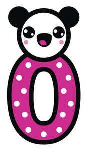 Adorable Panda Bear with Nursery Number #0 Vinyl Decal Sticker