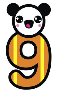 Adorable Panda Bear with Nursery Number #9 Vinyl Decal Sticker