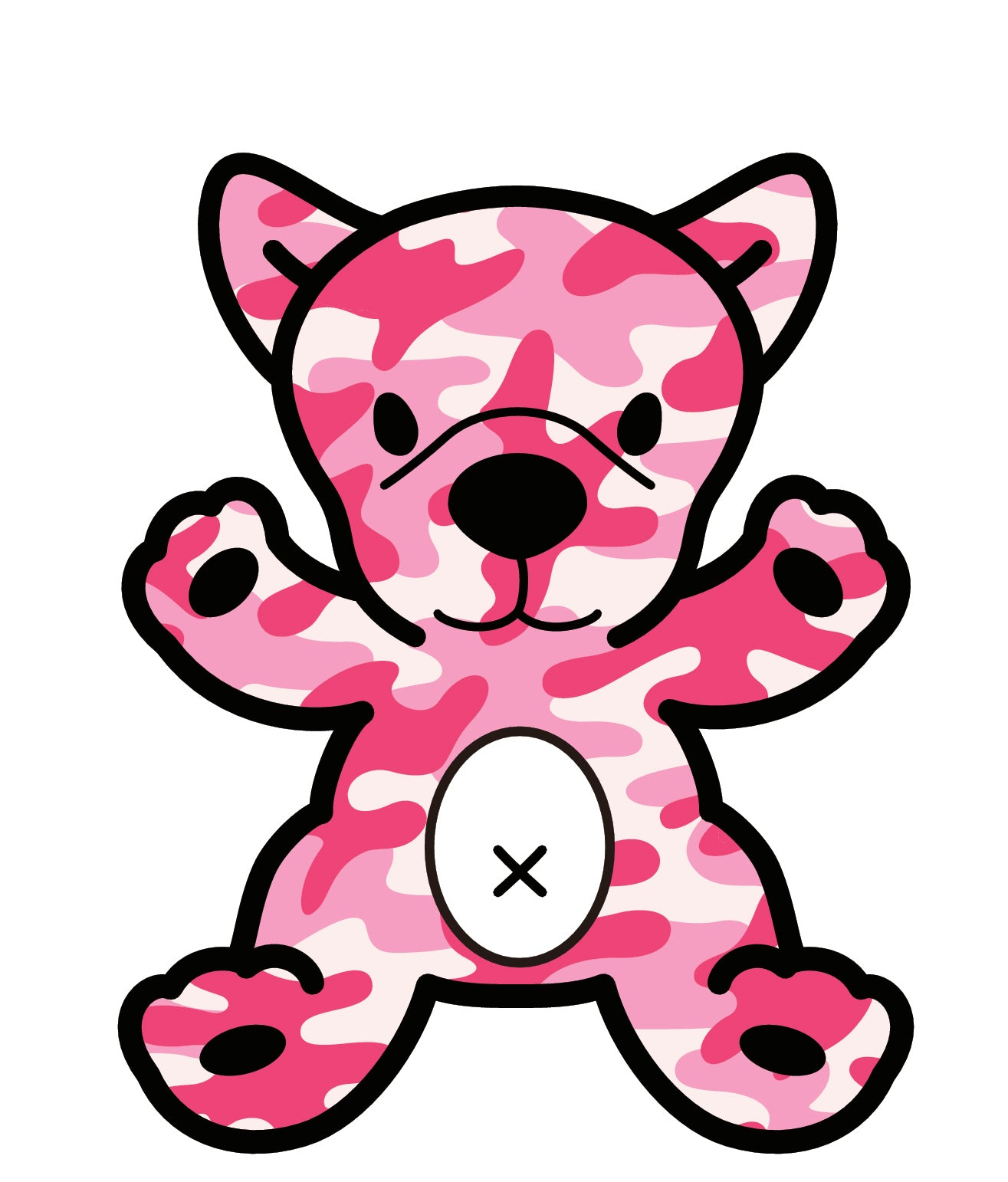 Adorable Pink Camouflage Puppy Dog (2) Vinyl Decal Sticker