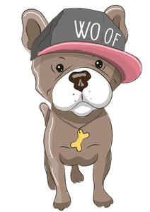 Adorable Pitty Pitbull Bulldog with Woof Hat and Gold  Bone Chain Vinyl Decal Sticker