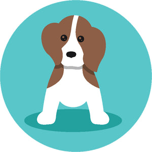 Adorable Simple Pure Breed Puppy Dog Icon Cartoon - Beagle Vinyl Decal Sticker