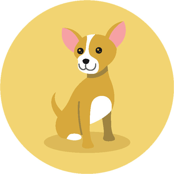 Adorable Simple Pure Breed Puppy Dog Icon Cartoon - Chihuahua Vinyl Decal Sticker