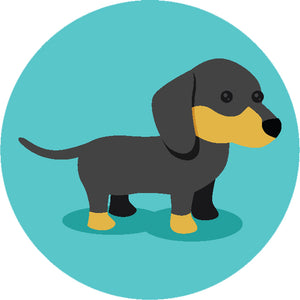 Adorable Simple Pure Breed Puppy Dog Icon Cartoon - Dachshund Vinyl Decal Sticker