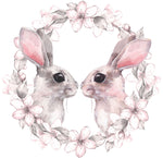 Adorable Watercolor Bunny Rabbit Couple with Flower Border Vinyl Decal Sticker