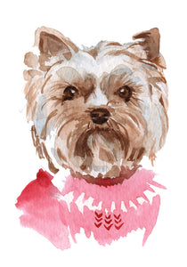 Adorable Watercolor Yorkie Puppy Dog in Pink Sweater #1 Vinyl Decal Sticker