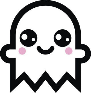Adorable White Ghost Emoji #8 Vinyl Decal Sticker