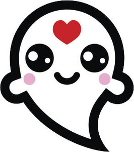 Adorable White Ghost Emoji #9 Vinyl Decal Sticker
