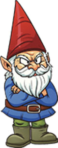 Angry Grumpy Garden Gnome Cartoon Vinyl Decal Sticker