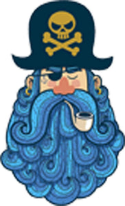 Bearded Pirate Captain with Pipe and Eye Patch - Blue Vinyl Decal Sticker