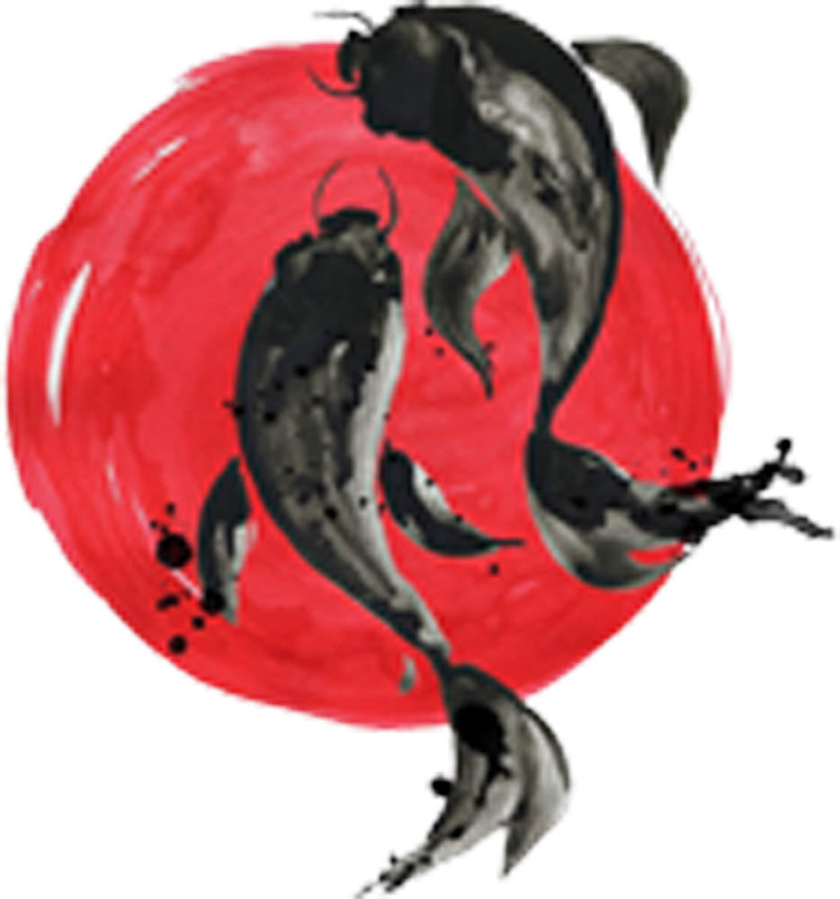 Beautiful Artistic Watercolor Japanese Black Koi Fish Cartoon - Large Red Circle Vinyl Decal Sticker