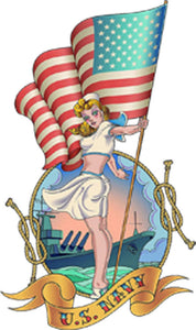 Beautiful Vintage Retro American US Navy Sailor Sailorette with Flag Cartoon Art - Icon Vinyl Decal Sticker