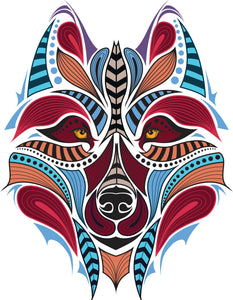 Beautiful Colorful Tribal Print Wolf Dog Vinyl Decal Sticker