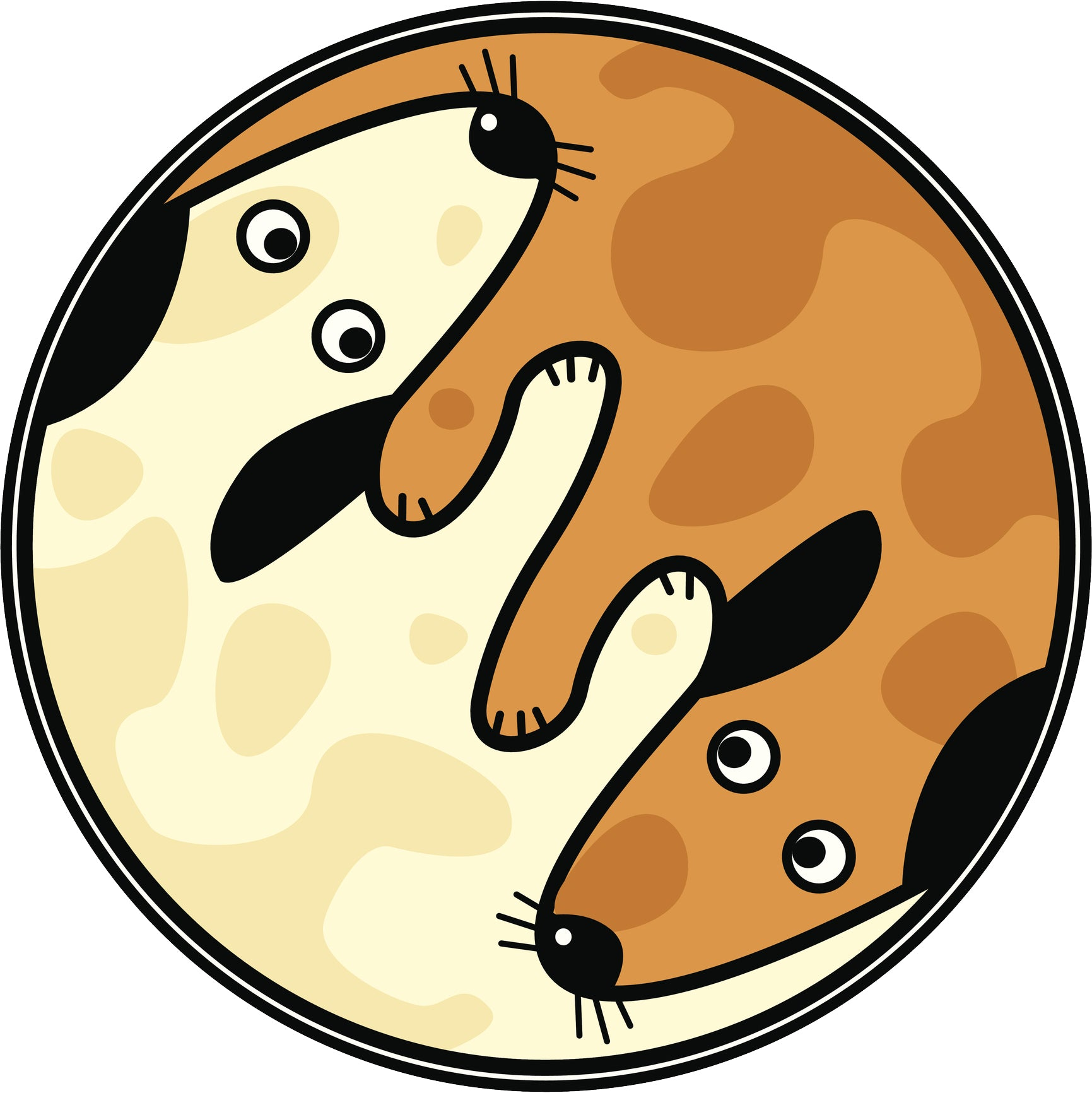 Beige and Brown Puppy Dog Yin Yang Vinyl Decal Sticker