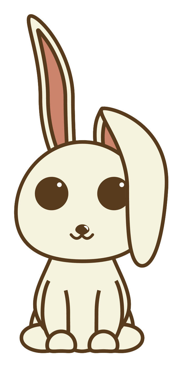 Big Eyed Off White Bunny Rabbit Cartoon Vinyl Decal Sticker