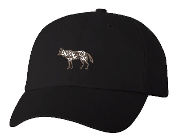 Unisex Adult Washed Dad Hat Nature Quote Calligraphy Animal Silhouette - Born to be Free Wolf Embroidery Sketch Design
