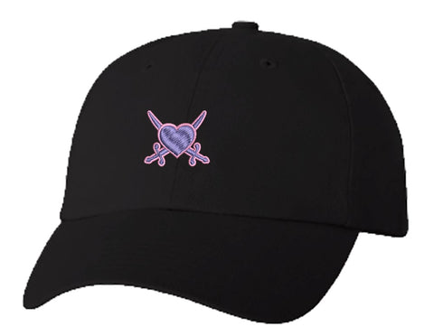 Unisex Adult Washed Dad Hat HEART WITH CROSSED SWORDS PINK PURPLE Embroidery Sketch Design