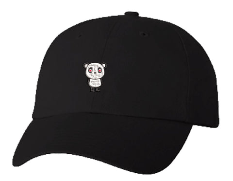 Unisex Adult Washed Dad Hat PANDA BEAR ICON 3 WITH HEARTS LOVE BLACK WHITE RED Embroidery Sketch Design