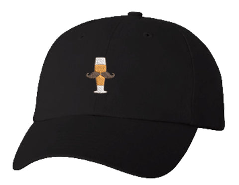 Unisex Adult Washed Dad Hat Pilsner Beer Glass with Handlebar Mustache Manly Brewery Drink Funny Symbol Icon Cartoon Embroidery Sketch Design