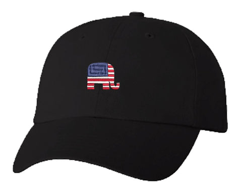 Unisex Adult Washed Dad Hat Political Red White And Blue American Pencil Illustration #3 - Republican Party Elephant Cartoon Embroidery Sketch Design