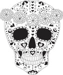 Black and White Girly Swirl Pattern Skull with Flower Crown Vinyl Decal Sticker