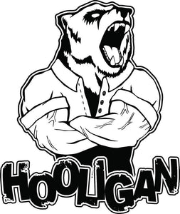 Black and White Hard Strong Manly Cartoon Emoji - Hooligan Bear Right Vinyl Decal Sticker