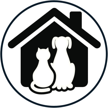 Black and White Simple Vet Veterinarian Symbol Cartoon Icon - Dog House Vinyl Decal Sticker
