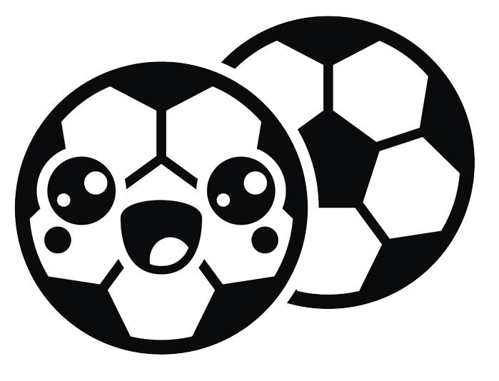 Black and White Soccer Ball Emoji #7 Vinyl Decal Sticker