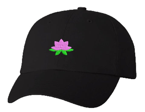 Unisex Adult Washed Dad Hat Pretty Dainty Floating Water Lily Lotus Cartoon Flower - Pink Embroidery Sketch Design