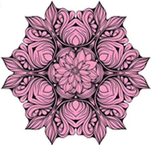 Black and White Vintage Lotus Rose Mandala Flower Bunch Icon - Blush Vinyl Decal Sticker