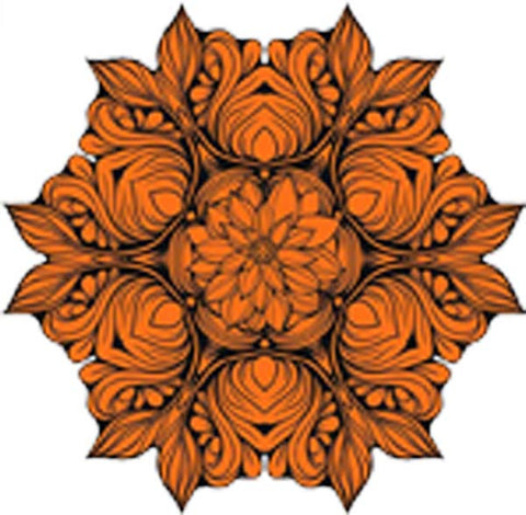 Black and White Vintage Lotus Rose Mandala Flower Bunch Icon - Orange Vinyl Decal Sticker