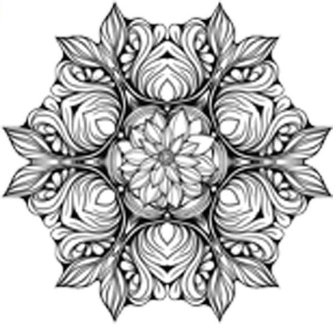 Black and White Vintage Lotus Rose Mandala Flower Bunch Icon - Outline Vinyl Decal Sticker