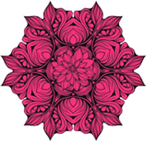Black and White Vintage Lotus Rose Mandala Flower Bunch Icon - Pink Vinyl Decal Sticker